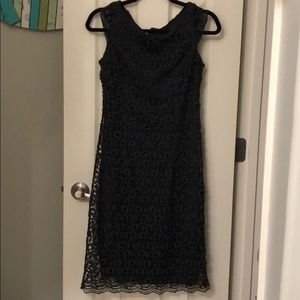 Lace charcoal gray dress.